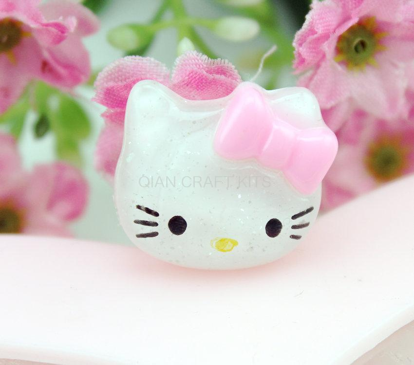 200pcs lovely glitter Kitty w/pink bow Cabochons (20mm) Cell phone decor, hair pins,rings, embellishment, DIY sparkling glittery(China (Mainland))