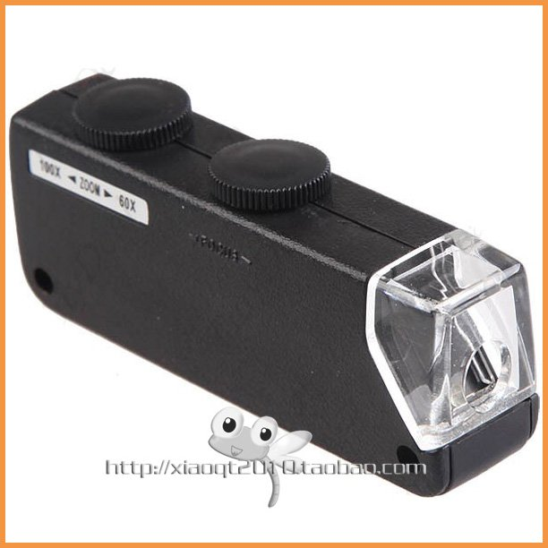 Free shipping 60X-100X Zoom & Focus LED Illuminated Microscope Pocket Magnifier Jewelry Loupe(China (Mainland))