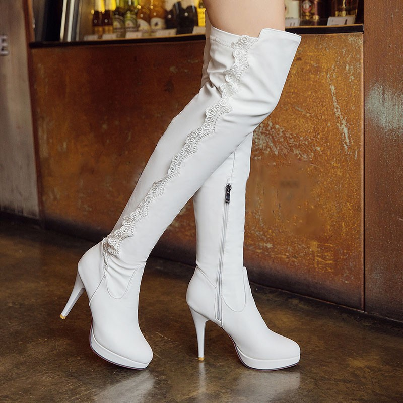 WETKISS Big Size 34-43 Noble Lace Platform Autumn Winter Boots Sexy Thigh High Boots High Heels Shoes Woman Female Footwear