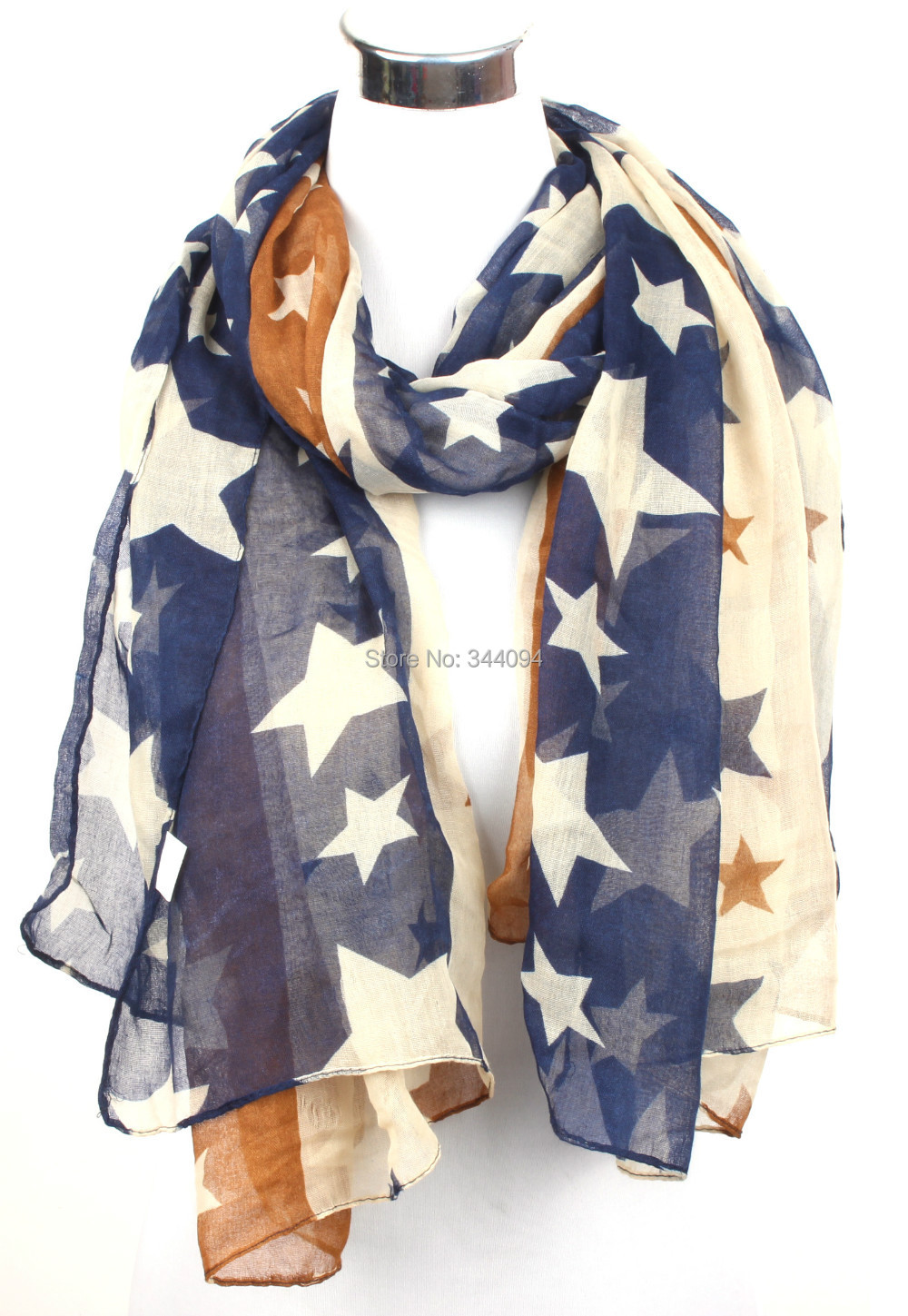Free shipping red star infinity scarf & oblong scarf five-pointed star scarf shawl wrap female muffler Women gift(China (Mainland))
