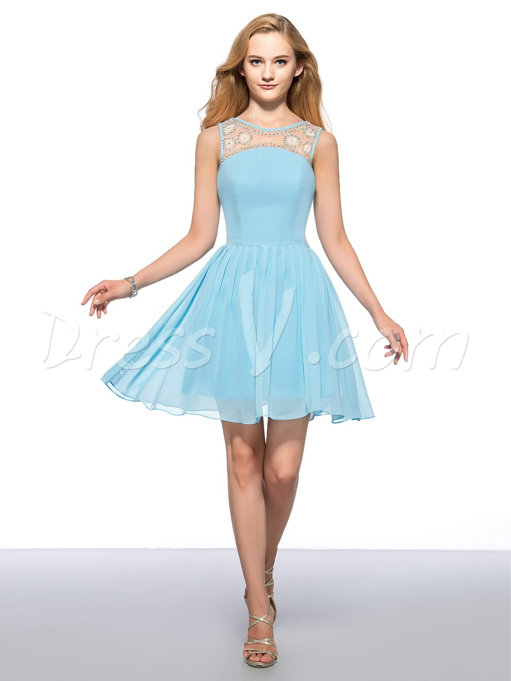 Simple Style Mint Blue Short Homecoming Dresses 2016 A line Beaded ...