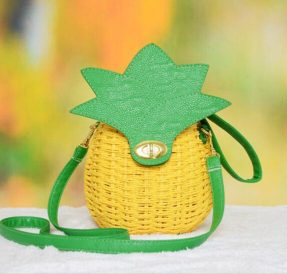 Summer Women Designer Pineapple shape Bags High Quality Female Bolsas Femininas Sac straw Bolsos Mujer fruit beach Shoulder Bags(China (Mainland))