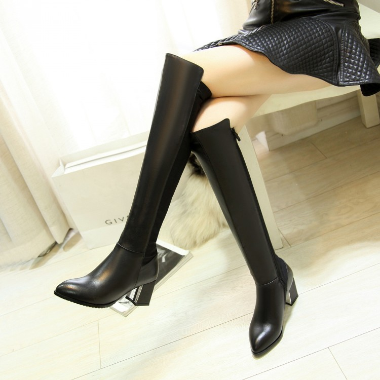 2016 New winter Autumn fashion Real genuine leather women over the knee thick  high heels sexy ladies knight motorcycle boots<br><br>Aliexpress
