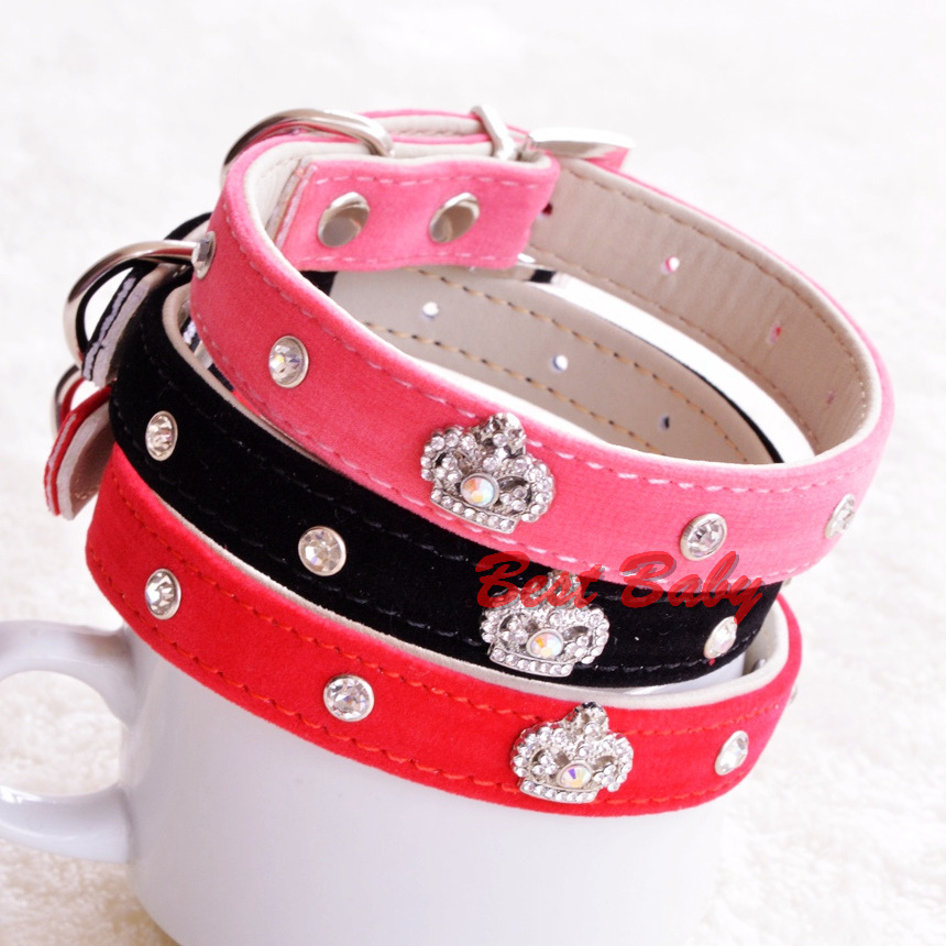 Diamond Pets Puppy Collar Dog Accessories Pink/Red/Black Chihuahua Bling Rinestone Crown Small Animal Grooming Products(China (Mainland))