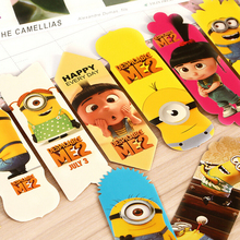 6 pcs/lot Cute Kawaii Cartoon Minions Paper Bookmark Lovely Despicable Me Bookmarks for kids Korean Stationery Free shipping 701(China (Mainland))