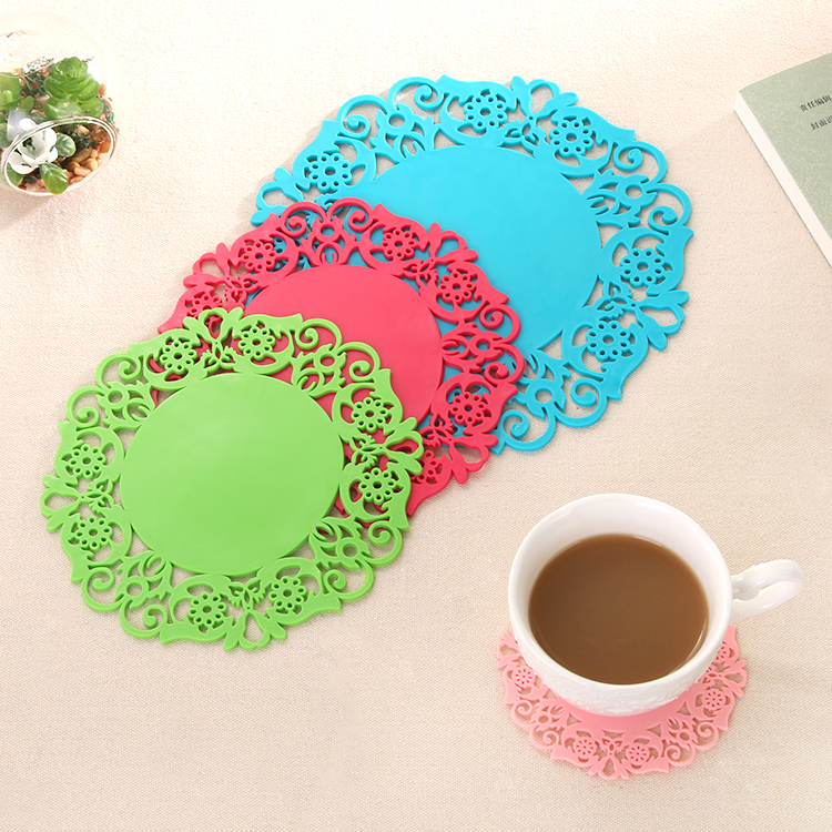 Creative Lace Thickened Cup Pad Cup Heat Insulation Hollow Silica Potholders Slip Bowl Pad Cushions(China (Mainland))