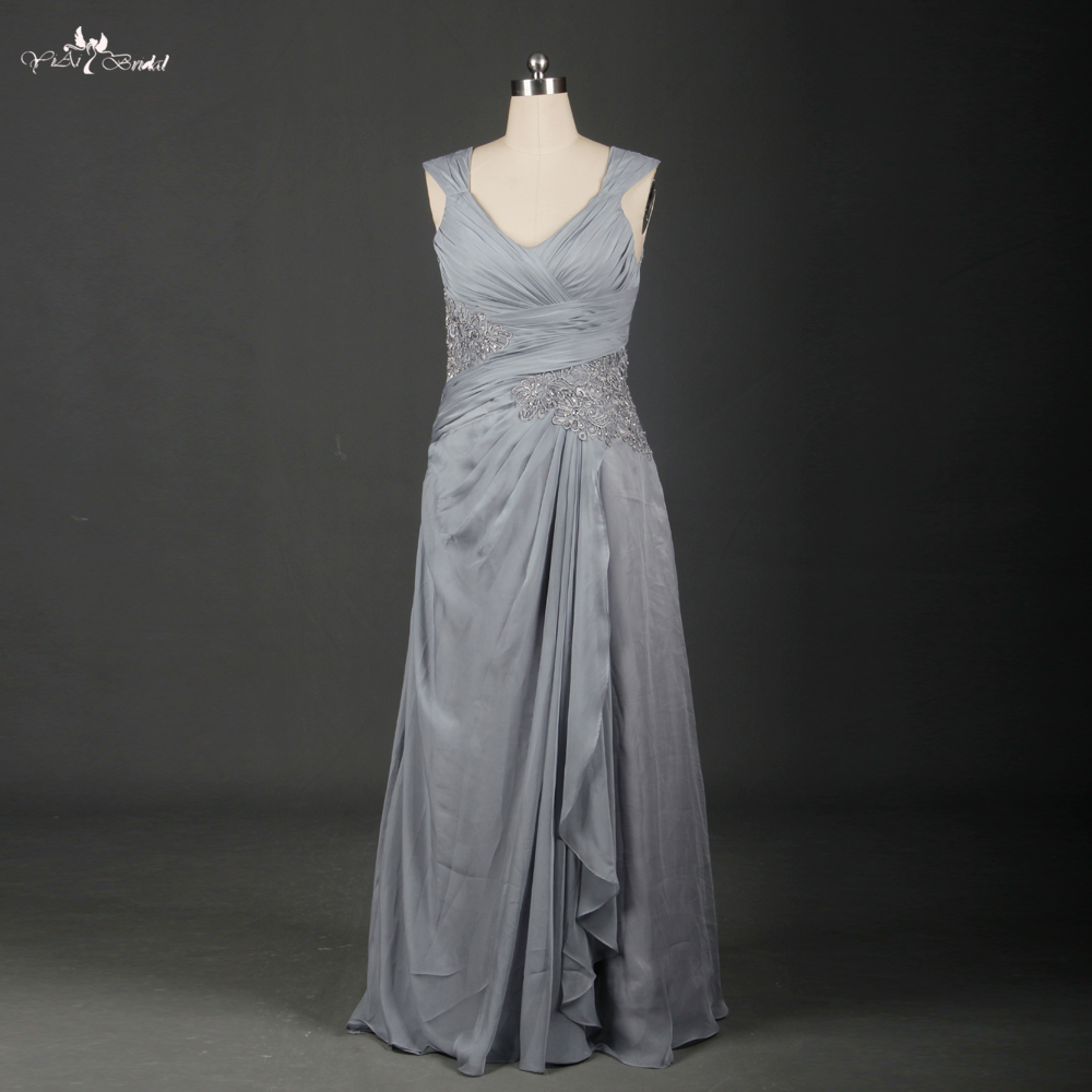 Gray And Yellow Mother Of The Bride Dress 48