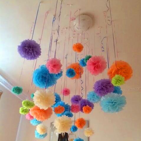 10pcs Paper Pom Pom Tissue Ball Artificial Flower Head Wedding Decoration DIY Wreath Gift Box Scrapbooking Craft Fake Flower(China (Mainland))