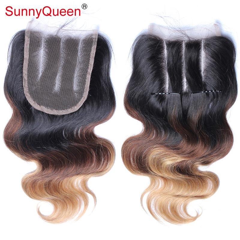 """Здесь можно купить  Malaysian Ombre Closure Bleached Knots Human Hair 3 Tone 1B/4/27 Malaysian Virgin Hair Body Wave Ombre Lace Closure 12"""" & 16  Волосы и аксессуары"""