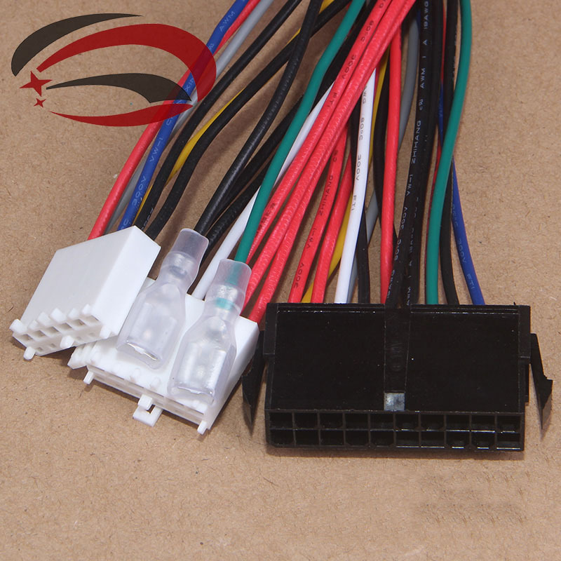 20Pin ATX to 2-Port 6Pin AT PSU Converter Power Cable Cord 20cm for 286 386 486 586 Old Computer(China (Mainland))