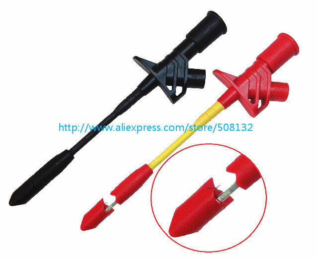 Fully Insulated Quick Piercing Needle Test Clips Multimeter Test Probe Spring Load red+black (TPC168 heavy-Duty Automotive)(China (Mainland))