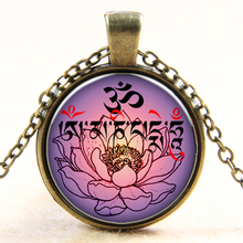Buy Fashion Necklace AUM OM Ohm Lotus patterns glass pendants necklaces Yoga India Necklace men Jewelry women choker necklace B342 for $1.01 in AliExpress store