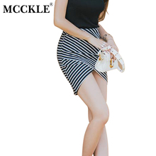 Buy MCCKLE Irregular Penci Mini Skirts Women Sexy Slim Package Hip Saia Feminina High Waist Skirt Mini Fashion Summer Striped Jupe for $8.46 in AliExpress store