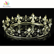 Free Shipping Wholesale Full Circle Gold Plated Prom Accessories King Men's Crown Round Imperial Medieval CT1747(Hong Kong)