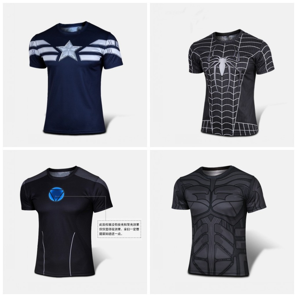 2015 Top Sales Superhero T shirt Tee Superman Spiderman Batman Avengers Captain America Ironman Style Cycling Clothing XS-4XL(China (Mainland))