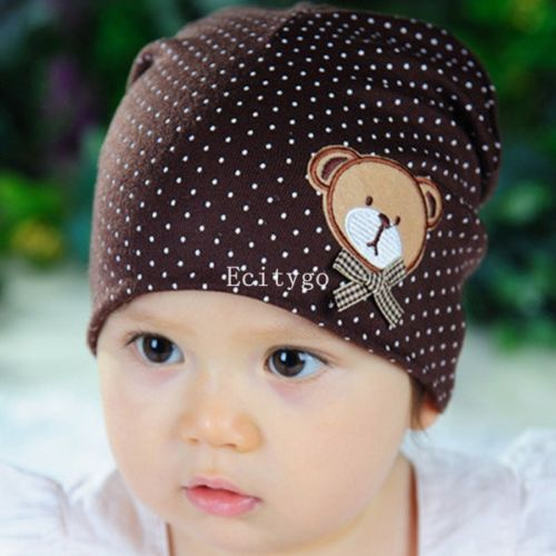 10X Fashion New Unisex Newborn Baby Boy Girl Toddler Infant Cotton Beanie Soft Bear Polka Dot Cute Hat Cap 10 Color