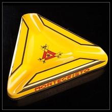 MONTECRISTO Triangular Yellow Ceramic Cigar Ashtray with 3 slots(China (Mainland))
