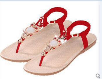 2016 new fashion comfort Summer plus size women sandals 35-42 Women shoes flat sandals Rhinestone