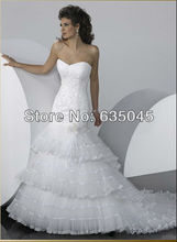 Vestido De Noiva 2015 Custom Made WhiteTulle Applique Crystal Beading Ruffles Lace Mermaid Wedding Dress Bridal