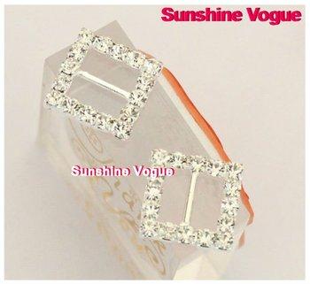Rhinestone crystal buckles 10mm inner bar 100pcs/lot square buckle for wedding invitation/garment/handicraft/hair jewelry/shoes