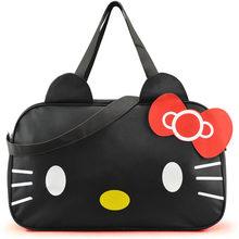 Women Travel Bag 2016 New Style Canvas Fabric Sport Bag Luggage Bags Hello Kitty Cartoon Bolsa Feminina School Girls Duffel Bag(China (Mainland))
