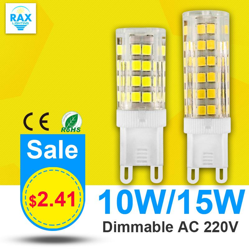 Dimmable LED Lamp G9 220V 10W 15W Mini LED G9 Bulb Lamp Ceramic Crystal High Power High Transmittance 360 Degree G9 Light(China (Mainland))