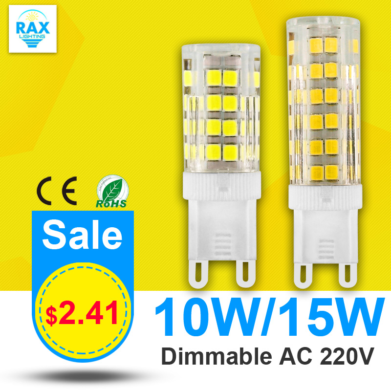 Dimmable LED Lamp G9 220V 10W 15W Mini LED G9 Bulb Lamp Ceramic Crystal High Power High Transmittance 360 Degree G9 Light(China (Mainland))