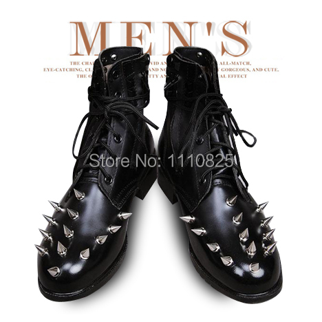 Free shipping the new boots Korean super personality rivet punk spikes dermal male short boots<br><br>Aliexpress