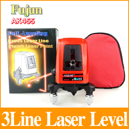 3 Lines 3 Points Laser Level Ak455 2V1H3d Horizontal And Vertical Rotary 360 Degree Cross Laser