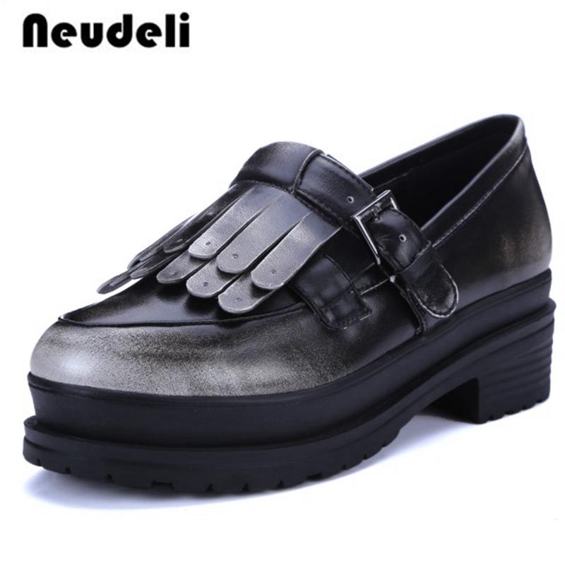 2016 genuine leather ankle boots platform
