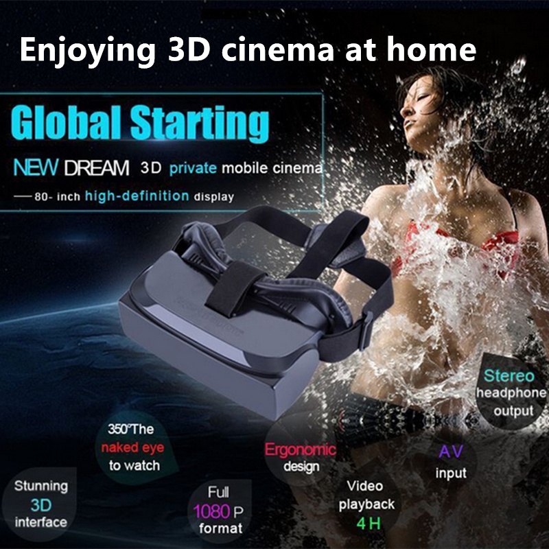3D Private Mobile Cinema VR Virtual Reality Glasses 80 Inch Support USB 32GB TF Card Built-in Battery Stereo Earphone Output(China (Mainland))