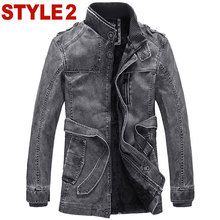 New 2015 men clothing Pu Leather jacket Winter coat motorcycle leather jackets cultivate one's morality trench coat high quality(China (Mainland))