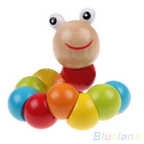 Гаджет  Latest DIY Baby Kids Twist Caterpillars Wooden Toy Infant Creative Educational Gift 1QA4 483L None Игрушки и Хобби