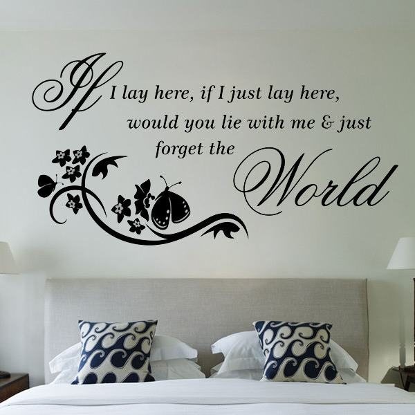POP Romantic Removable Vinyl If I Lay Here Quote Letter Wall Sticker Decor Wall Bed Room Decoration(China (Mainland))