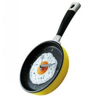 FE001 2014 New Arrival MiNi Lovely Fried Egg Pan Shaped Wall Clock with Function of Fix Time Happy Time Great Gift Free Shipping