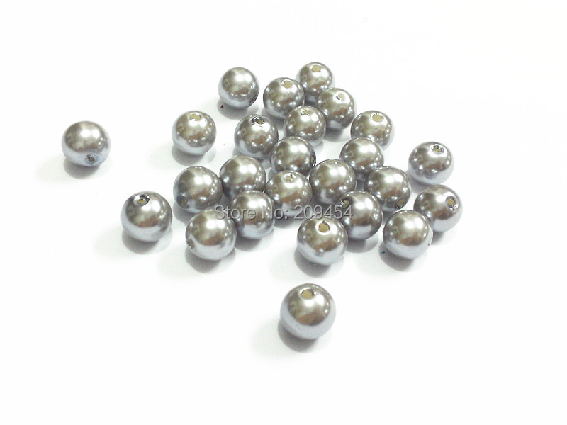 60pcs Pearl Beads 14mm Navy Blue Imitation Polished Acrylic Round Pearl Spacer