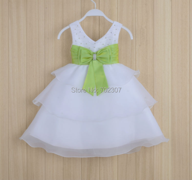Wholesale little Girls flowers dress beaded kids princess dress with bow baby party dress size:0-4 10pcs/lot free DHL P-50