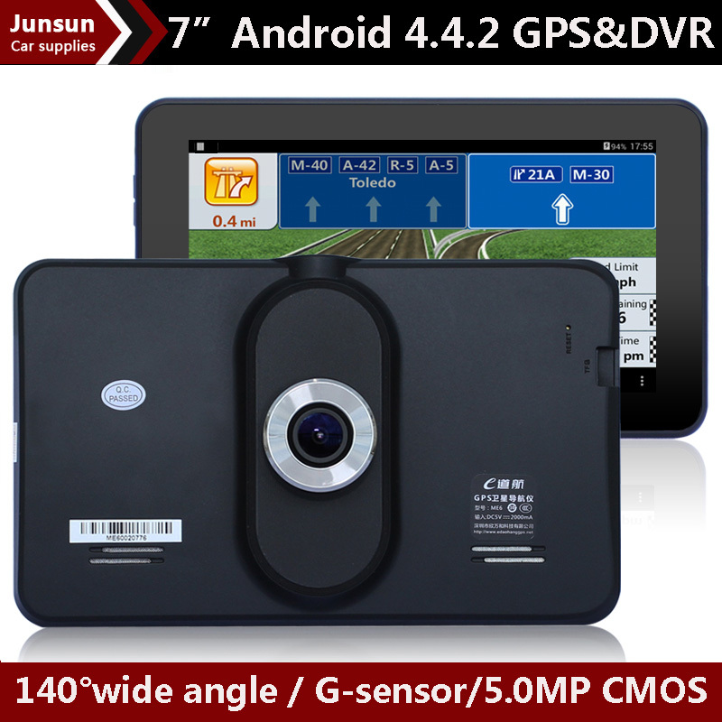 New 7 inch Android 4.4 Car gps navigation Car dvrs Vedio Recorder Vehicle GPS navigator Tablet PC WIFI FM Free Map Built in 8GB(China (Mainland))