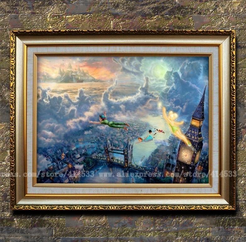 Thomas kinkade prints tinker bell and peter pan fly to neverland animation painting children 39 s for Home interiors thomas kinkade prints