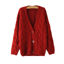 Ladies Solid Color Thick Sweater Coat 2015 Autumn New Korean Women Jumpers Preppy Loose Knit Cardigan Feminino YB669