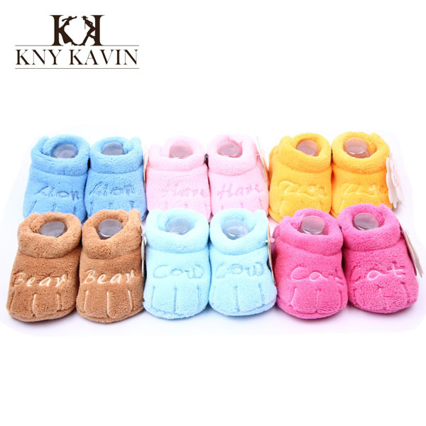 Fancy Kawaii design soft coral fleece baby shoes Animal paw shape cotton girls boys first walker multicolor toddler shoes HK495(China (Mainland))