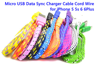 1M/2M/3M Braided Fabic Woven usb Data Sync Charger Cable Cord wire for iPhone 5 5s 6 6Plus