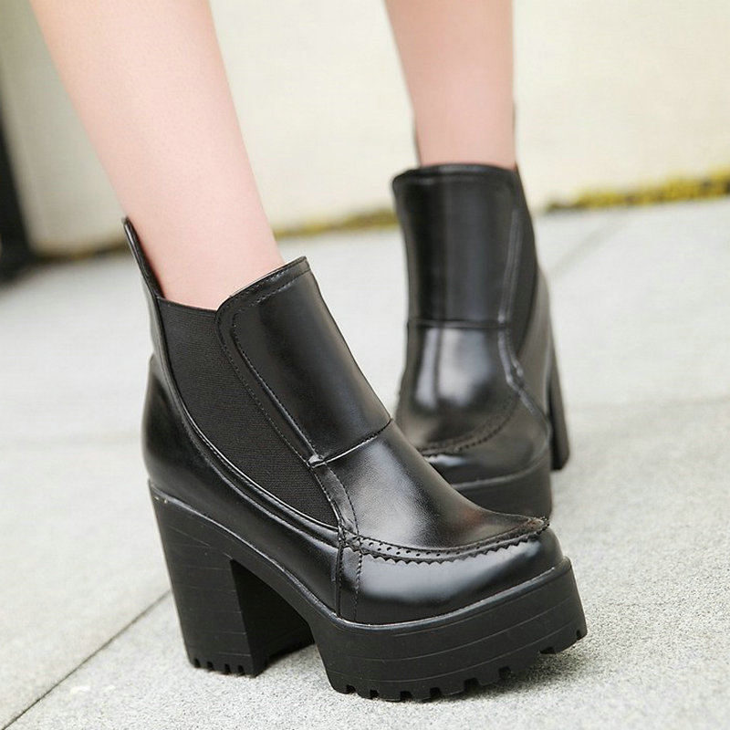VINLLE Fashion Martin PU Leather Boots Round Toe Platform High Heel Women Boots Classic British Style Ankle Boots size 34-43