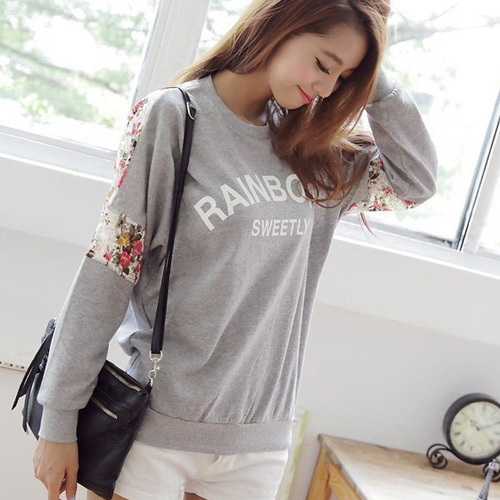 New 2015 Fashion Clothing Women Cotton Shirt Loose Letter Lace Stitching Flower O-Neck Ladies Lovely Sweatshirt.Pullover WF-643(China (Mainland))