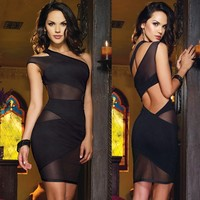 New 2015 Sexy Nightclub Bandage Dress Mini One Shoulder Dress Summer Sexy Women's   Party Clubwear Dress 50