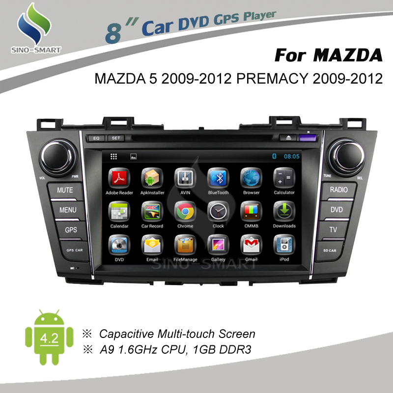 Free shipping Android 4.4 GPS navigation car DVD for Mazda 5/Mazda Premacy 2009-2012 4 core CPU, HD screen 1024*600 optional(Hong Kong)