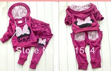 Retail 2013 spring Minnie butterfly lace the sport suits for girls leisure bow Mickey set children's clothing 00085(China (Mainland))