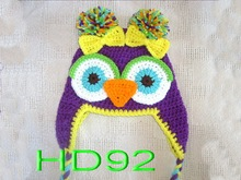 free shipping,200piece/lot  100% Handmade Cute Baby Boy/Girl/Toddler Owls Knit Crochet Hat Beanie Brithday Gift, baby owl hat(China (Mainland))