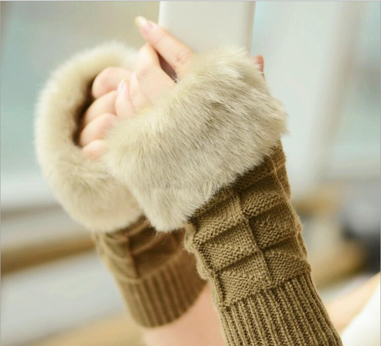 TOP1!2015 fashion Women Winter heated warm gloves for women knitted Glove half Finger Gloves(China (Mainland))