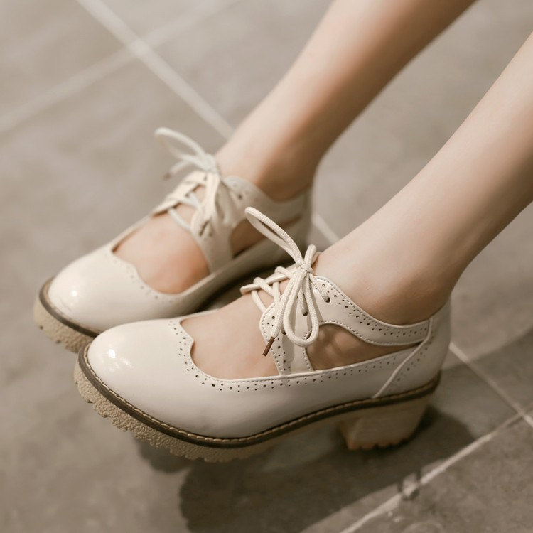 Summer sexy women's dress shoes British style ancient lace-up thick heel round toe casual female oxfords - Online Shoes Shop store